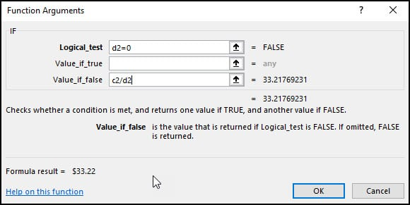 Functional Arguments dialog with formula values.