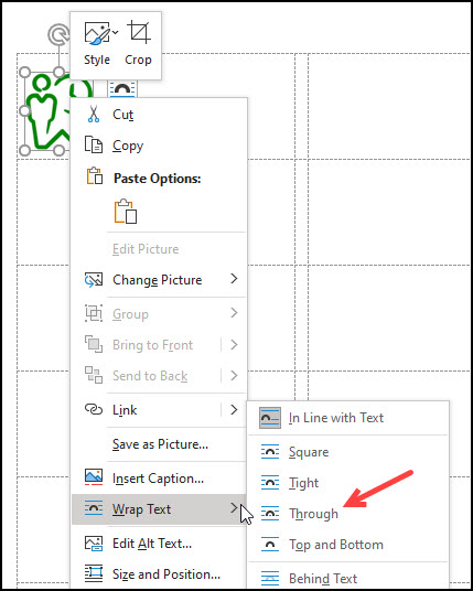 Wrap text menu options.