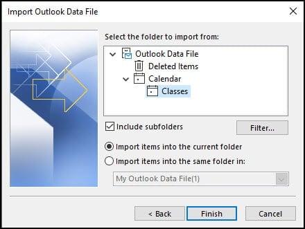 Setting folder and import options.