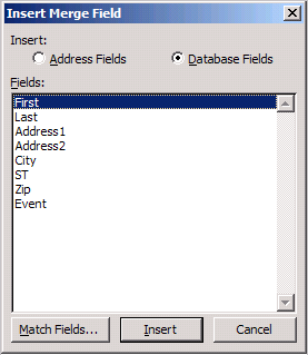 Insert Merge Fields dialog