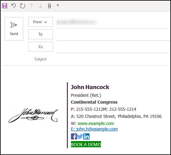 Outlook email with inserted HTML signature.