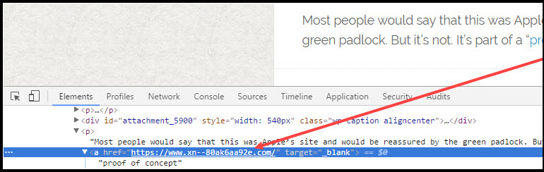 Punycode example in Chrome Dev tools.