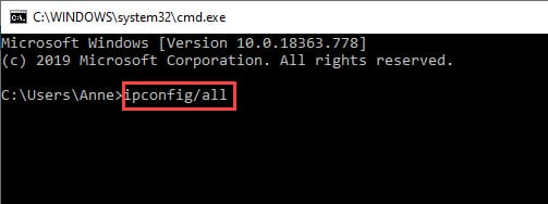 Typed ipconfig/all command.