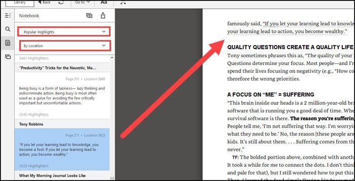 Kindle popular highlight with dashed underline.