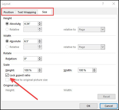 Layout panel with outlined tabs and Lock aspect ratio checkbox.