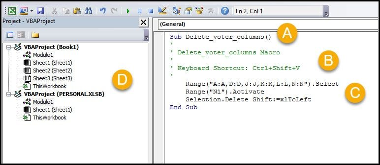 Macro editor with code snippet.