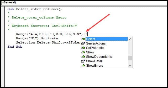 Intellisense code suggestions.