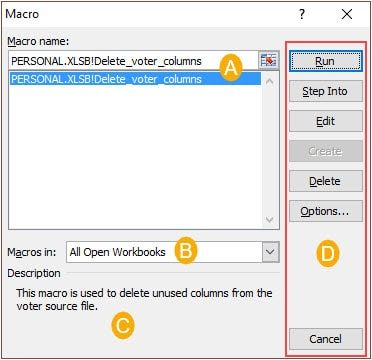 Excel macro dialog box.