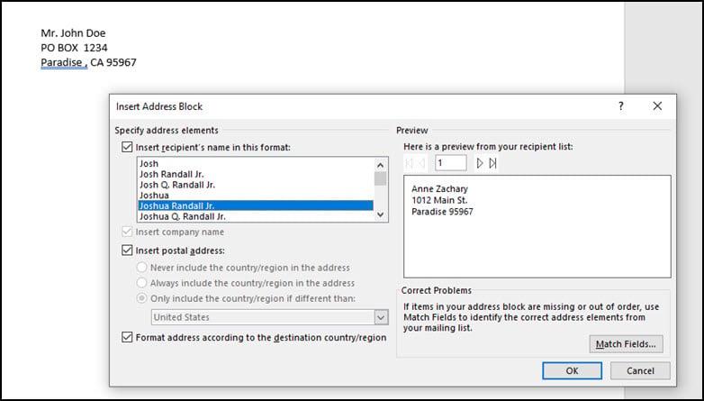 Insert Address Block with default settings.