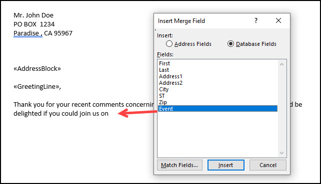 Insert Merge Field dialog and adding Event.