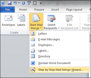 mail merge wizard menu item
