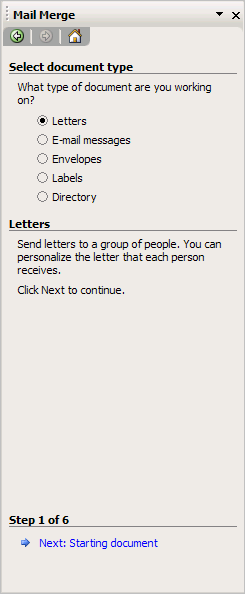 Word's mail merge task pane