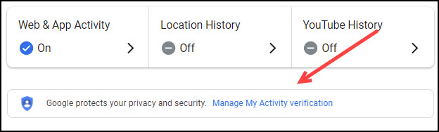 Link for Manage My Activity verification.