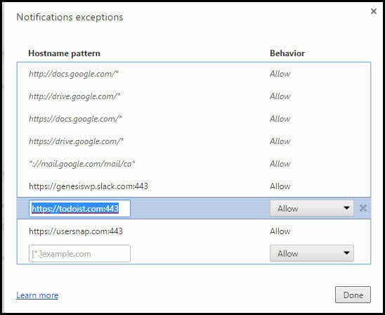 Manage notification exceptions