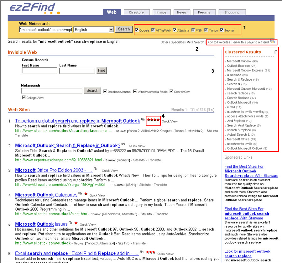 EZfind search results.