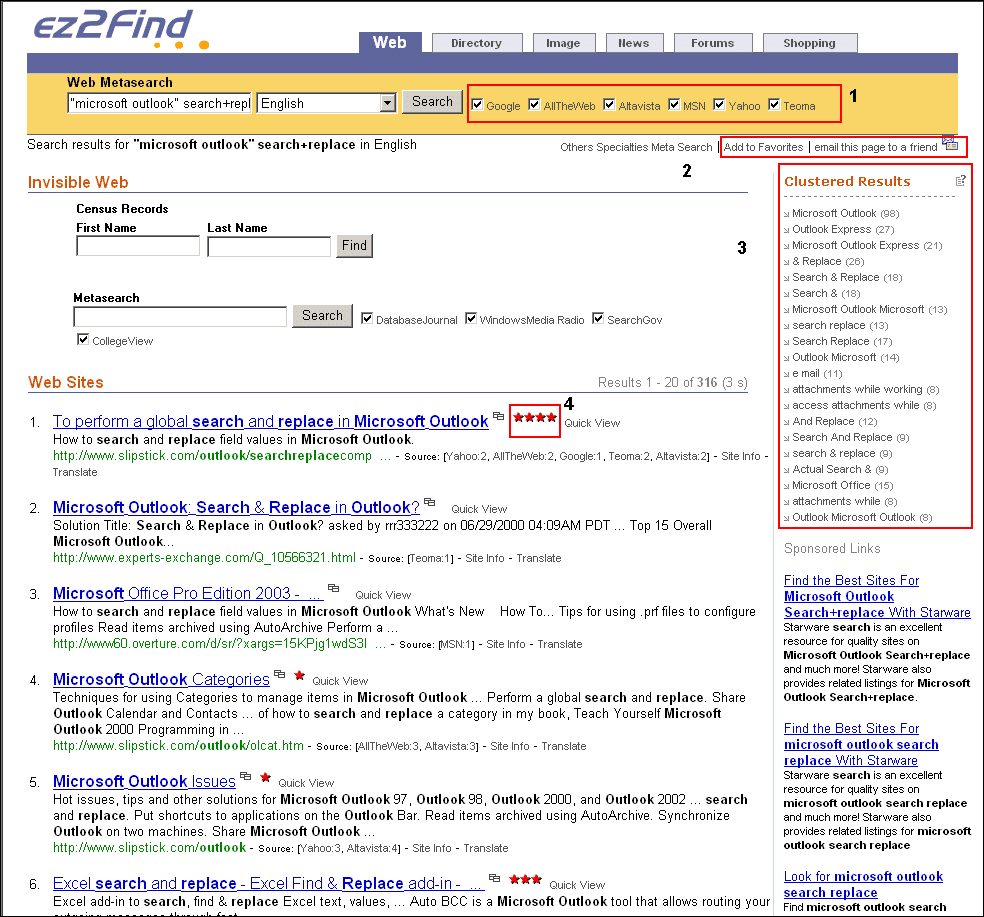 ezfind search results