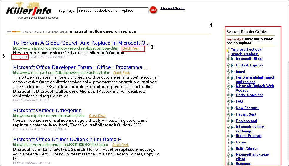 Killer Info search results