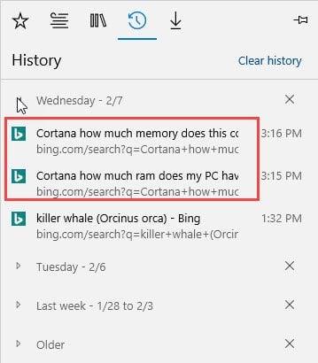 Cortana voice searches.