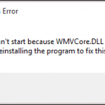 error message for missing WMVCore.dll