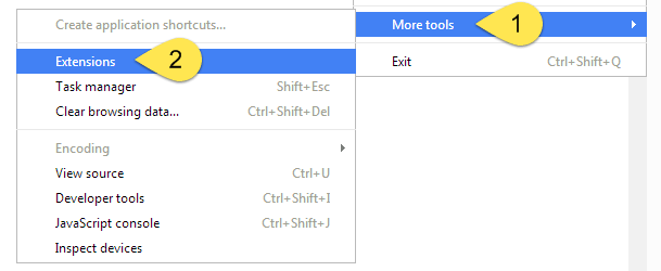 extensions menu chrome