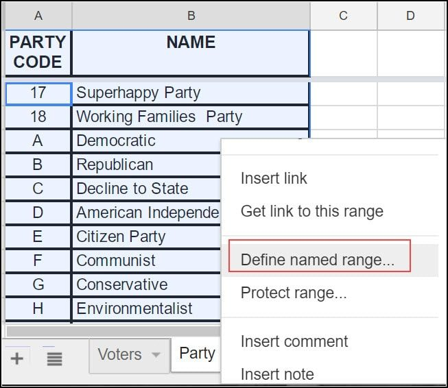 Defining google sheets named range.