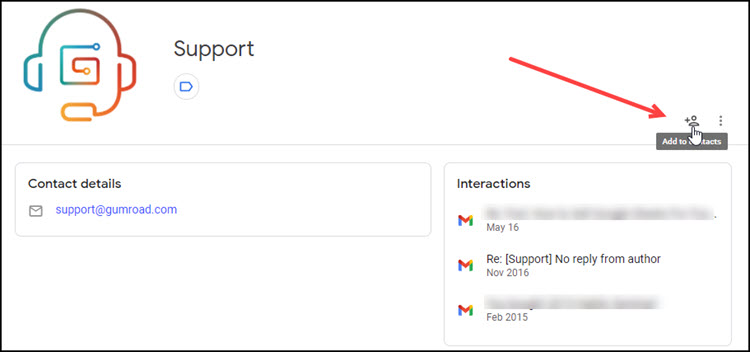 Other contacts example with Add to Contacts button highlighted.