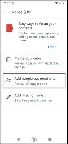 Mobile app with Add People you email often.