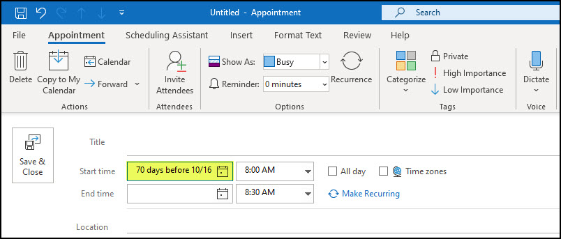 Outlook appoinment with smart logic example in date field.