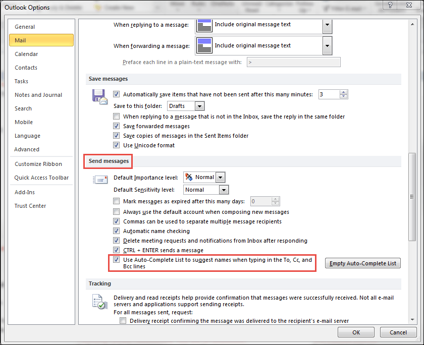 outlook autocomplete option