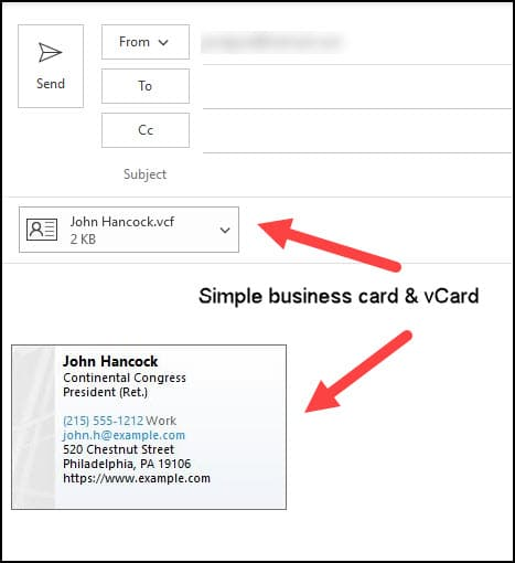 Business card inserted into Outlook email.