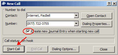 Outlook New Call dialog