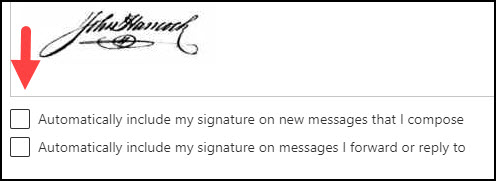Arrow pointing to signature inclusion options.