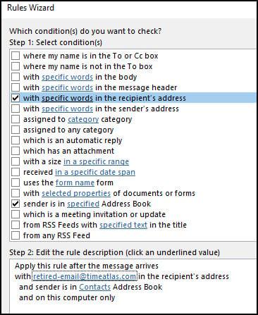 Sender's address book rule added.