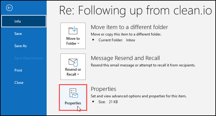 Email Properties access.