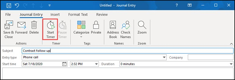 Outlook Journal entry with Start Timer button highlighted.