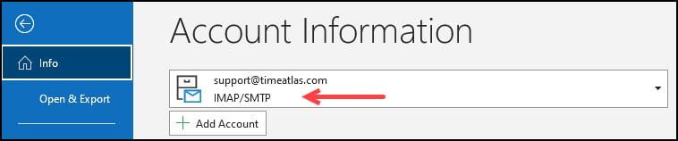 Info panel showing mailbox type of IMAP/SMTP.