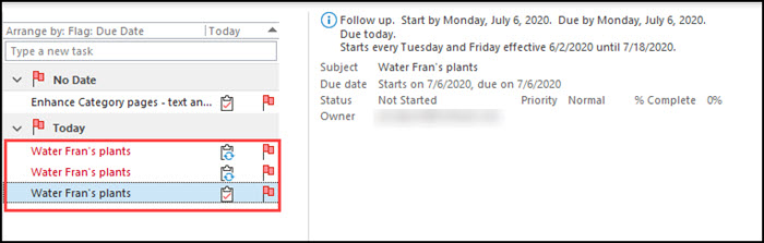 List of Outlook recurring tasks with red overdue ones.