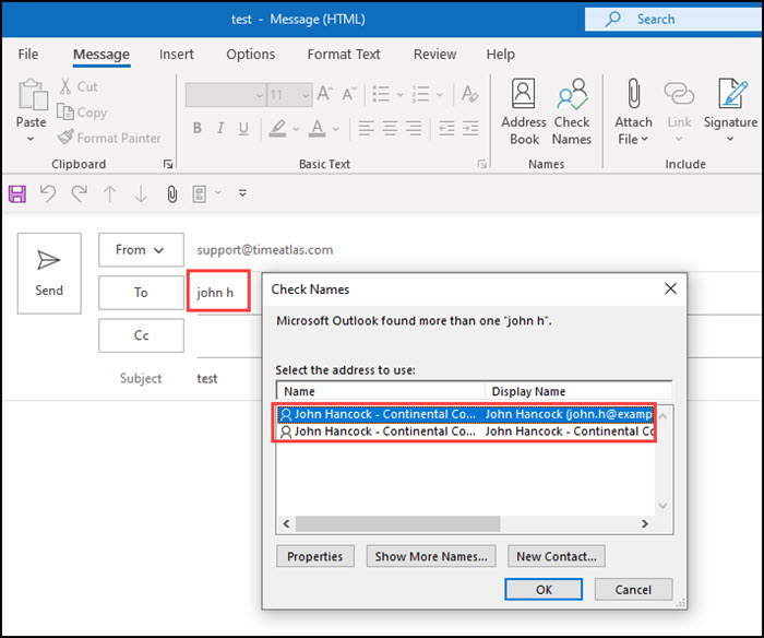 Outlook Check Names found 2 email addresses.