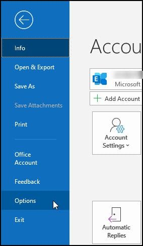 Outlook's Options sidebar