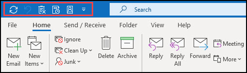 Outlook Quick Access toolbar outlined in red.