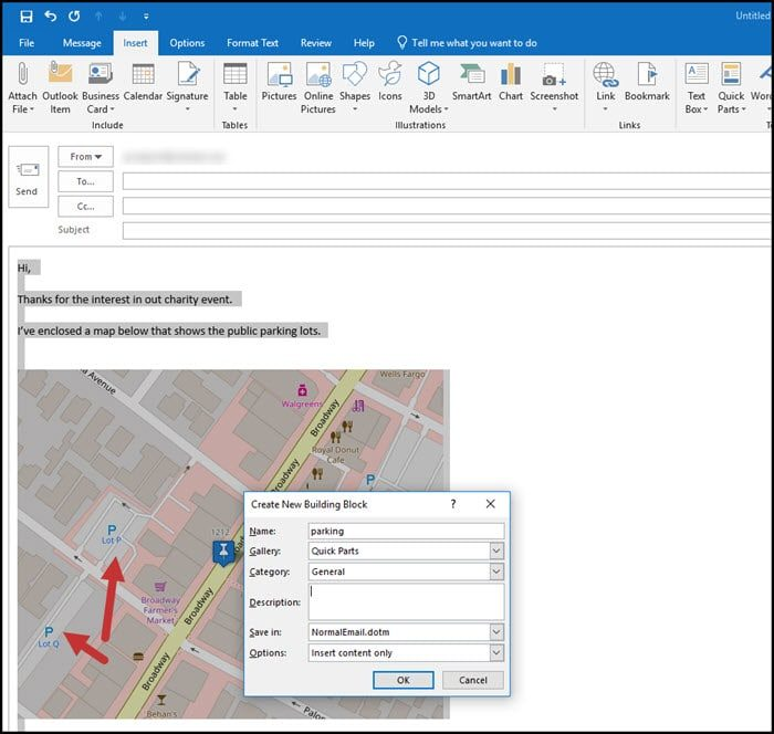 Reusing Text and Images with Outlook Quick Parts