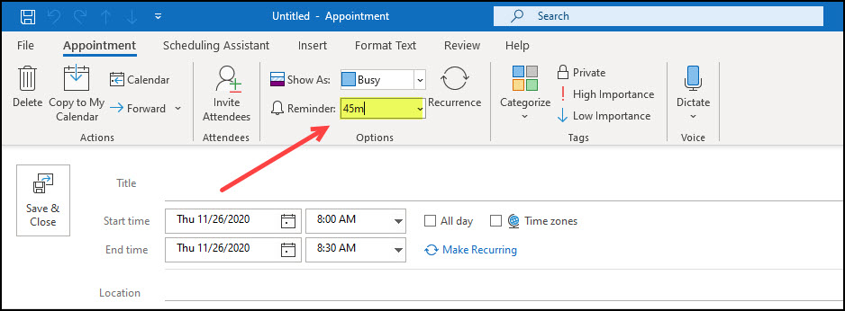 Outlook reminder using M for minutes.