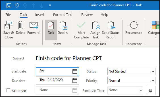 Outlook task with existing Due date.