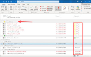 Organizing with Outlook Categories
