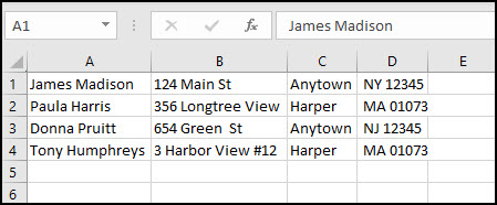 Address pulled into Excel with columns.