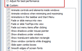 windows performance options settings