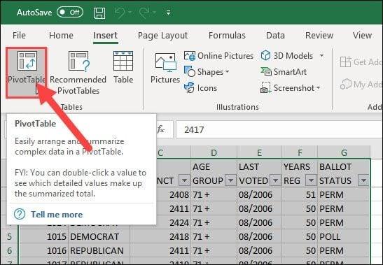 pivot table button on toolbar