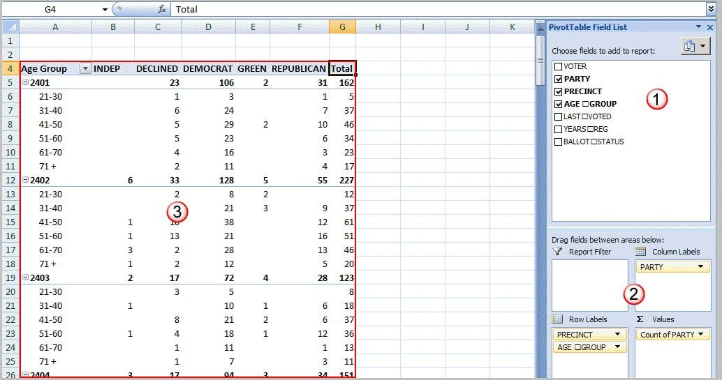 pivot table with multiple fields