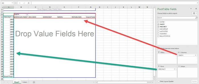 pivot table with row and columns.