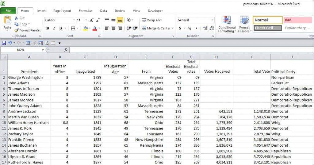 sample Excel spreadsheet